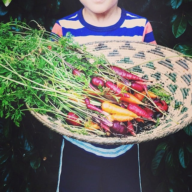 Sparrow Madden showed his dad, Joel, his bounty from the garden. Source: Instagram user joelmadden