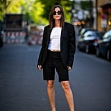 Go For a '90s-Inspired Look With a White Top, Black Blazer, and Matching Shorts