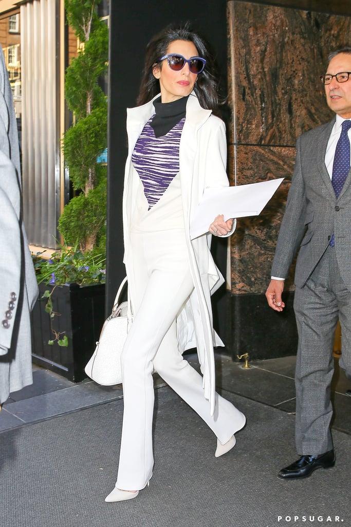 Amal Clooney White Suit April 2016