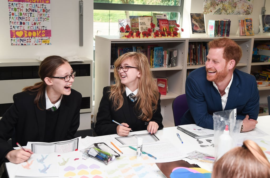 """Prince Harry marked World Mental Health Day with a special visit to Nottingham on Thursday. The Duke of Sussex — who has been a longtime advocate for mental health — stopped by Nottingham Academy, where he met with members of the EPIC Partners youth mentoring program and discussed the importance of mental health and emotional well-being. Harry took part in a school assembly and shared a cute moment with Barney the therapy dog. He then dropped by the Community Recording Studio in St. Ann's, which is """"a youth organisation that teaches video and music skills, allowing a creative outlet for self expression.""""   Prior to his visit, Harry posted a video on the Sussex Royal Instagram account of him and Ed Sheeran encourageing viewers to care for the people around them and break down the stigma surrounding mental health. """"Reach out, make sure your friends, strangers, look out for anybody that might be suffering in silence,"""" Harry says in the clip. """"We're all in this together.""""  Harry's outing comes a little over a week after it was announced that he filed a claim against Mail on Sunday and its parent company, Associated Newspapers, for leaking and publishing a private letter written by Meghan. The duke is also suing News UK (who owns The Sun) and MGN (who formerly owned The Daily Mirror) over an alleged phone hacking.       Related:                                                                                                           Prince Harry's Net Worth Is, Well, Downright Princely"""