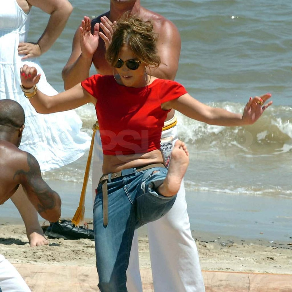 Jennifer Lopez doing martial arts.