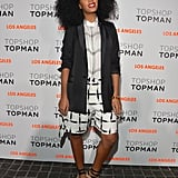 At the Topshop LA opening, Solange Knowles went the geometric route in a black-and-white ensemble, finished with a black tuxedo blazer and strappy Chanel shoes.