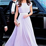 At another overseas movie-related event fourteen years later — a BAFTA gala in L.A. — Kate opted for a diaphanous gown in palest lilac by her favorite designer Alexander McQueen.