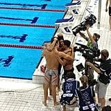 Bar Refaeli captured a sweet moment between the US men's swimming team.  Source: Twitter user barrefaeli