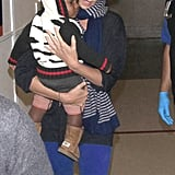 Charlize Theron carried baby Jackson Theron through LAX.