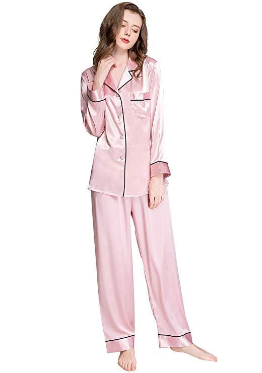 Lonxu Button-Down Satin Pajamas Set