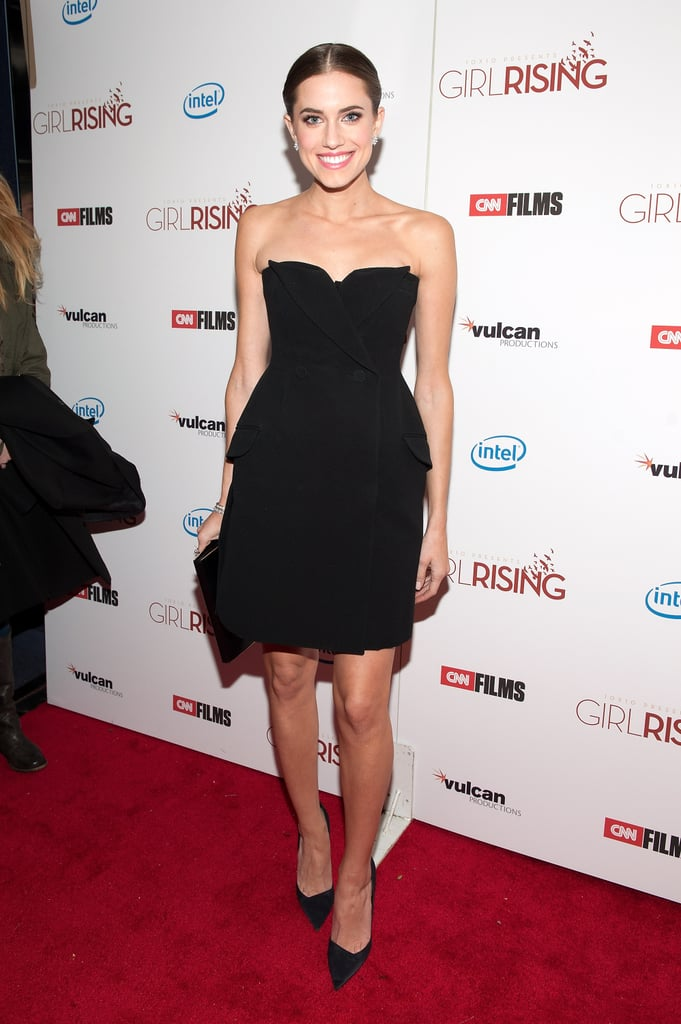 At the NYC premiere of Girl Rising, Allison Williams wowed in a tuxedo-inspired Christian Dior confection, from his Spring 2013 line, complete with double-breasted buttons, mini lapels, and side pockets.
