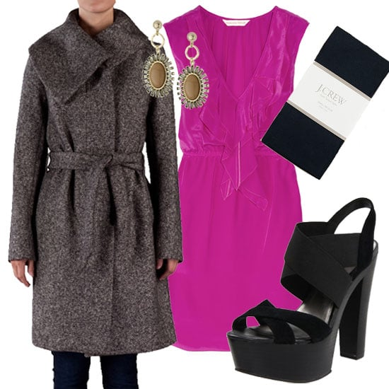 Go ladylike with a bright pink silk dress and chic gray tweed coat. Keep the ensemble girlie with pretty drop earrings, black tights, and chunky black heels. The vibrant hue of the dress adds a much-needed layering surprise. Martin Grant Asymmetrical Collar Coat ($1,175) Rebecca Taylor Ruffled Silk Dress ($295) J.Crew Super Opaque Tights ($25) Fergie Women's Paris Platform Sandal ($100) Rachel Leigh Primrose Sand Regal Drop Earrings ($178)