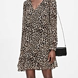 Leopard Flounce-Hem Dress