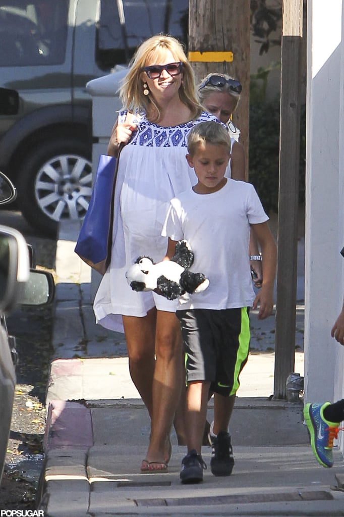 Reese Witherspoon and her son, Deacon Phillippe, headed to Malibu for an afternoon in the sun Saturday. The duo celebrated the long Labor Day weekend at home with family. Pregnant Reese is currently expecting her third child, her first with her husband of nearly a year and a half, Jim Toth. Jim wasn't photographed with Reese and Deacon at the start of the weekend, but he ventured out solo yesterday to pick up supplies for the group. It seems Jim hurt his ankle, though, as he ventured to the store with his foot in a brace.