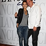 Right before she left Venice, Jessica posed with Quentin Tarantino in baggy jeans, a gray tee, and lace-up sandals. Super cool.