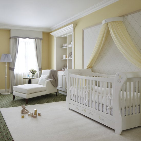 "POPSUGAR Moms shared a look at Grosvenor House, a London hotel that transformed a room into the ""Suite Dreams"" nursery. To design the British-inspired suite, the hotel teamed up with the Dragons of Walton Street shop — the decorator of choice for Prince William's, Prince Harry's, and their cousins Princess Beatrice's and Princess Eugenie's nurseries. Source: The Grosvenor House"