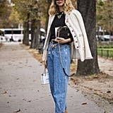 Offset your regular blue jeans with a dressed-up jacket and polished heels