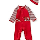 Little Me Christmas Train Footed Coverall & Hat Set