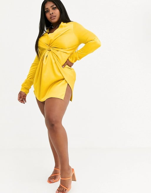 Belle: Koco & K Plus-Size Satin Knot Front Minidress