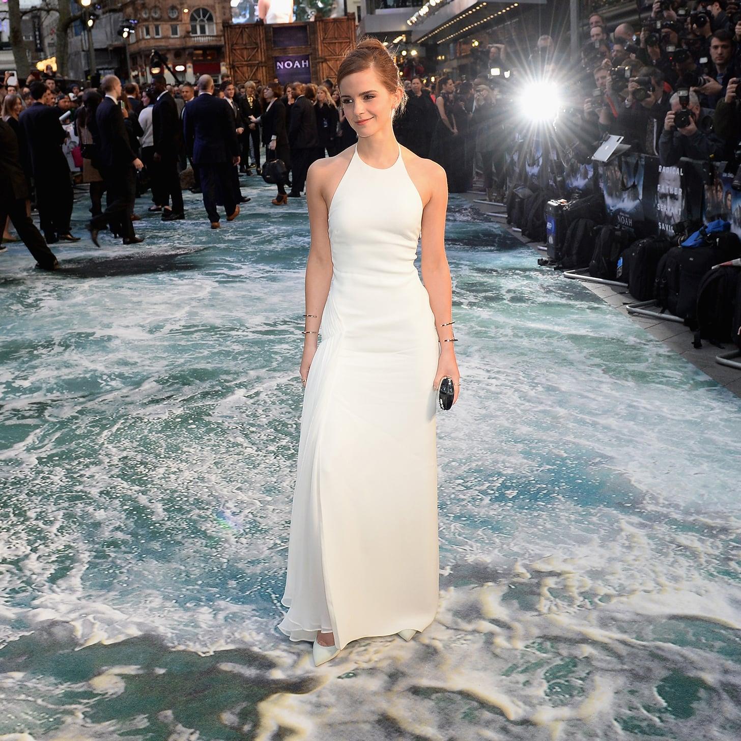 White dress emma watson - Emma Watson S White Ralph Lauren Gown At Noah Uk Premiere Popsugar Fashion