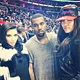 Kim Kardashian and Kanye West joined Khloe Kardashian to root for her husband, Lamar Odom, when he played with the LA Clippers on Christmas Day. Source: Instagram user khloekardashianodom