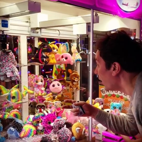 Jimmy Fallon Wins Arcade Claw Machine Game