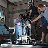 DiCaprio and Hill get ready to shoot a scene.