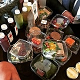 Chrissy Teigen was stoked to receive a big shipment of raw meals, juices, and snacks. We're seriously envious of this one . . .