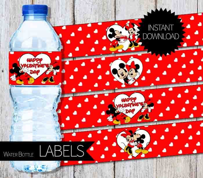 Mickey and Minnie Valentine's Day Water Bottle Labels