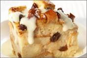 Cinnamon Raisin Bread Pudding with Vanilla Pudding Sauce