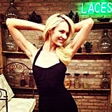 Candice Swanepoel was all smiles in a fitted black dress. Source: Instagram user angelcandices