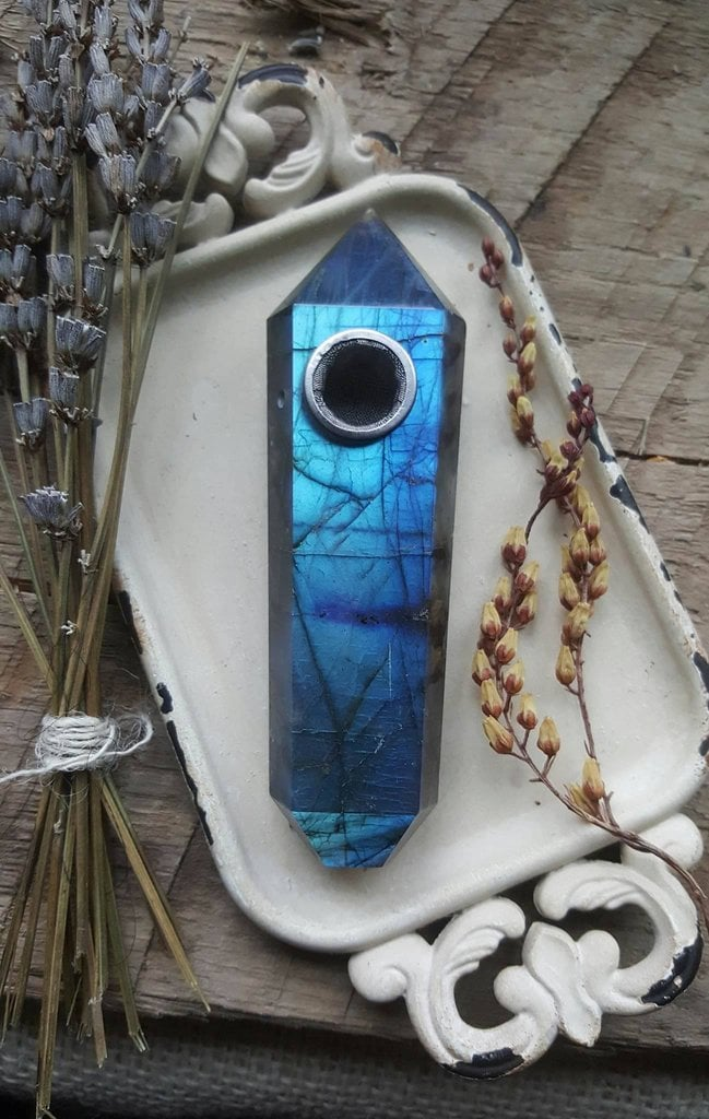 Labradorite Crystal Pipe ($175)