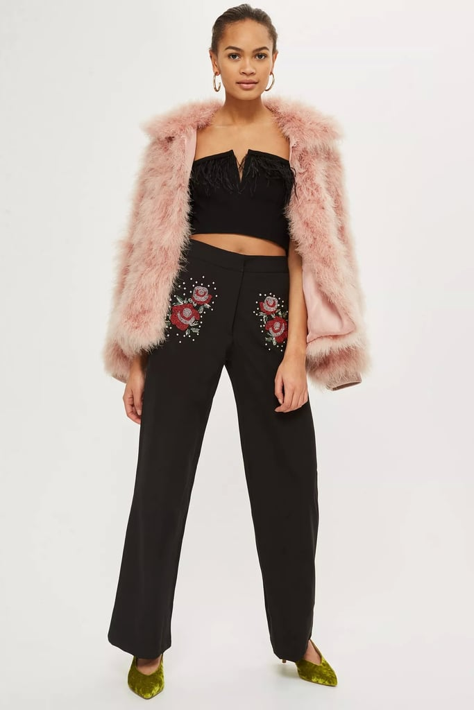 Topshop Sequin Embellished Wide Leg Pants