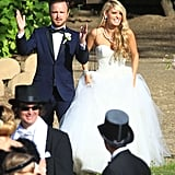 "Aaron Paul celebrated with his wife, Lauren Parsekian, following their official May 2013 ""I dos"" in Malibu."