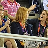 With her mom and sister at the 2012 Olympic Games in London.