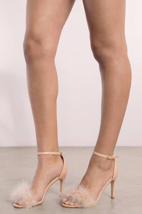 Tobi Penelope Nude Feather Trim Heels