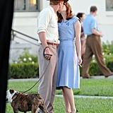 Ryan Gosling gave a kiss to his The Gangster Squad co-star, Emma Stone.