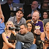 Ashton Kutcher paid attention to the game.