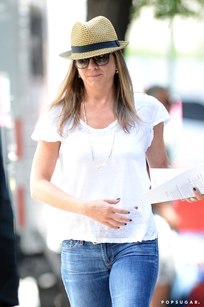 Jennifer Aniston made her way to her NYC set on July 31.