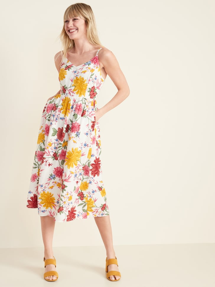 Old Navy Printed Fit Amp Flare Cami Midi Dress Best