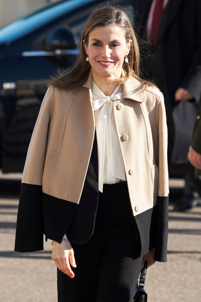 Queen Letizia's Colorblock Coat January 2017