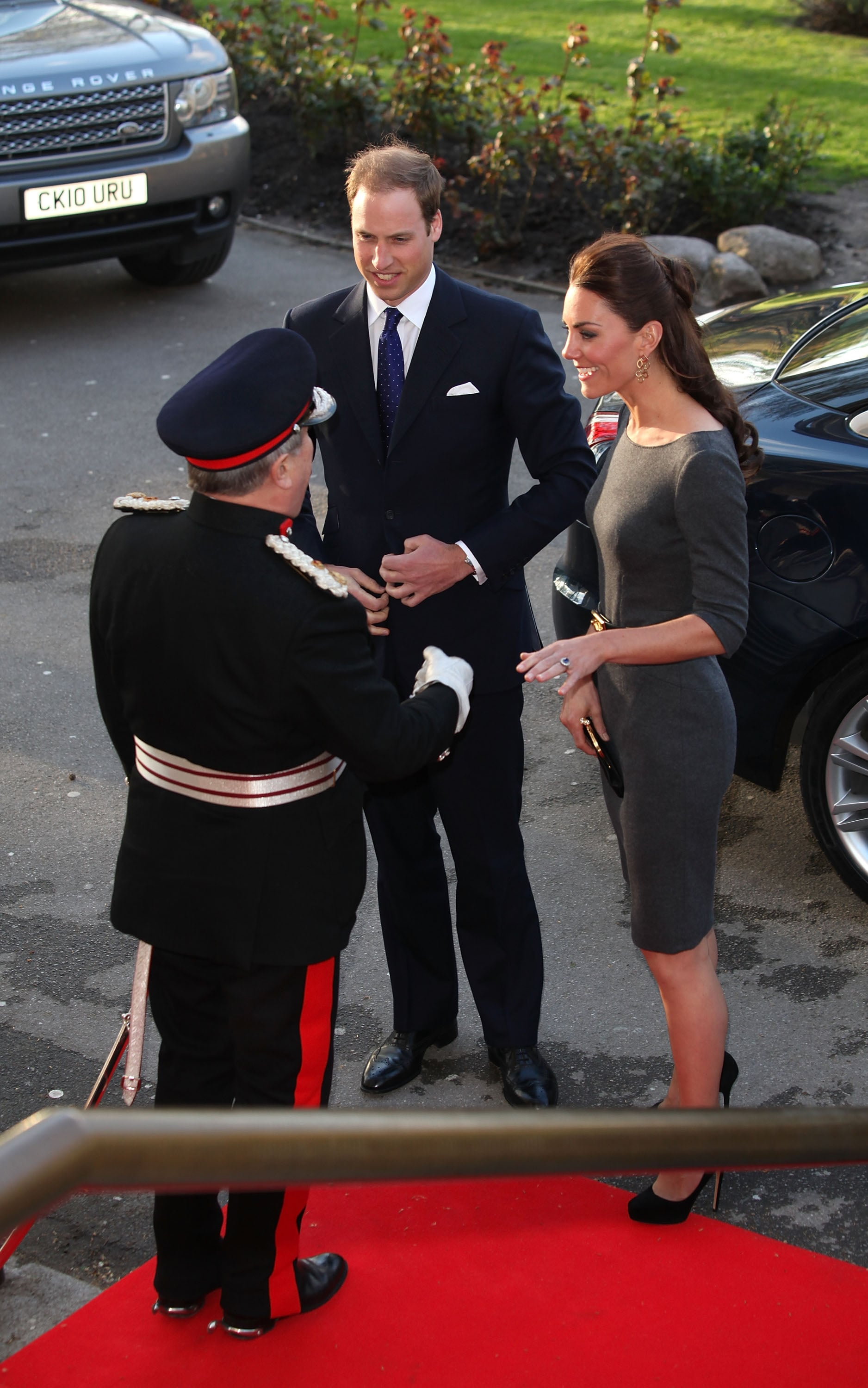 Kate Middleton and Prince William were greeted on the red carpet.