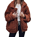 PrettyGarden Faux Shearling Oversized Teddy Coat in Brown