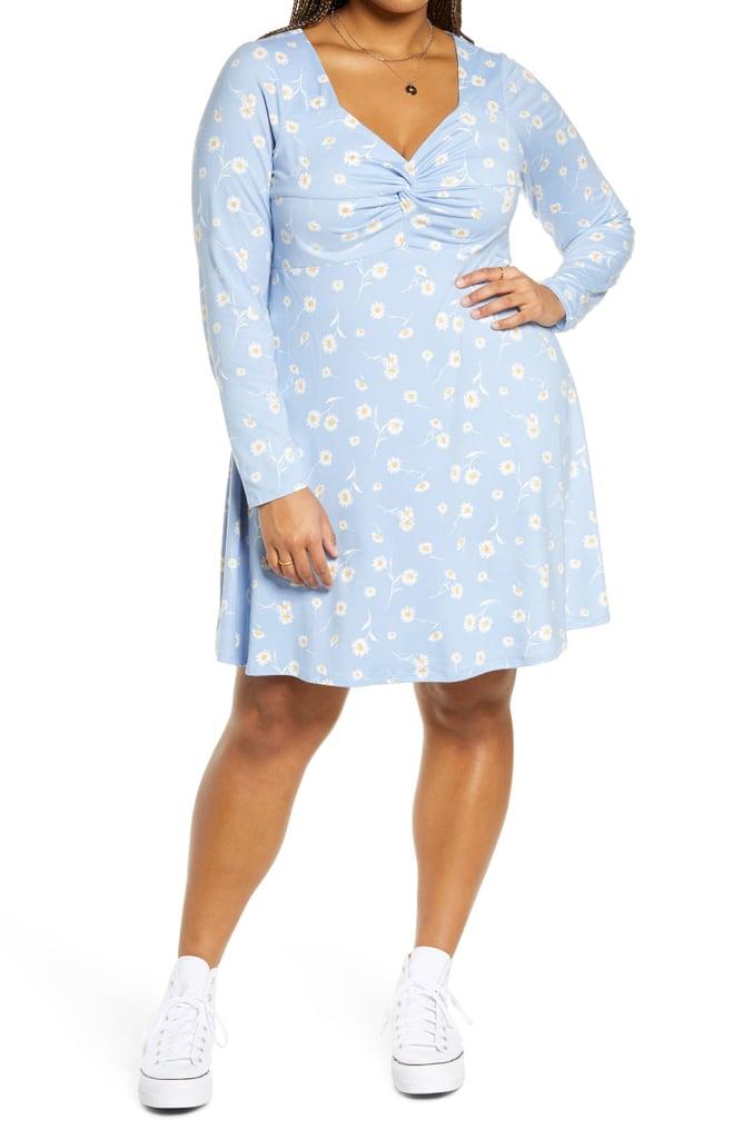 BP. Floral Sweetheart Neck Long Sleeve Knit Dress