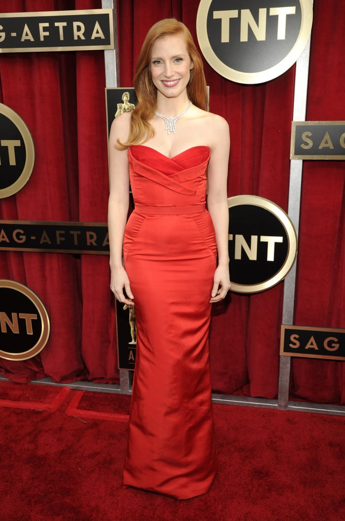 Jessica Chastain wore Alexander McQueen to the 2013 SAG Awards.