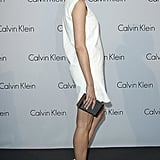 Diane turned Calvin Klein minimalism on its head with this white sheath and killer clunk white platforms.