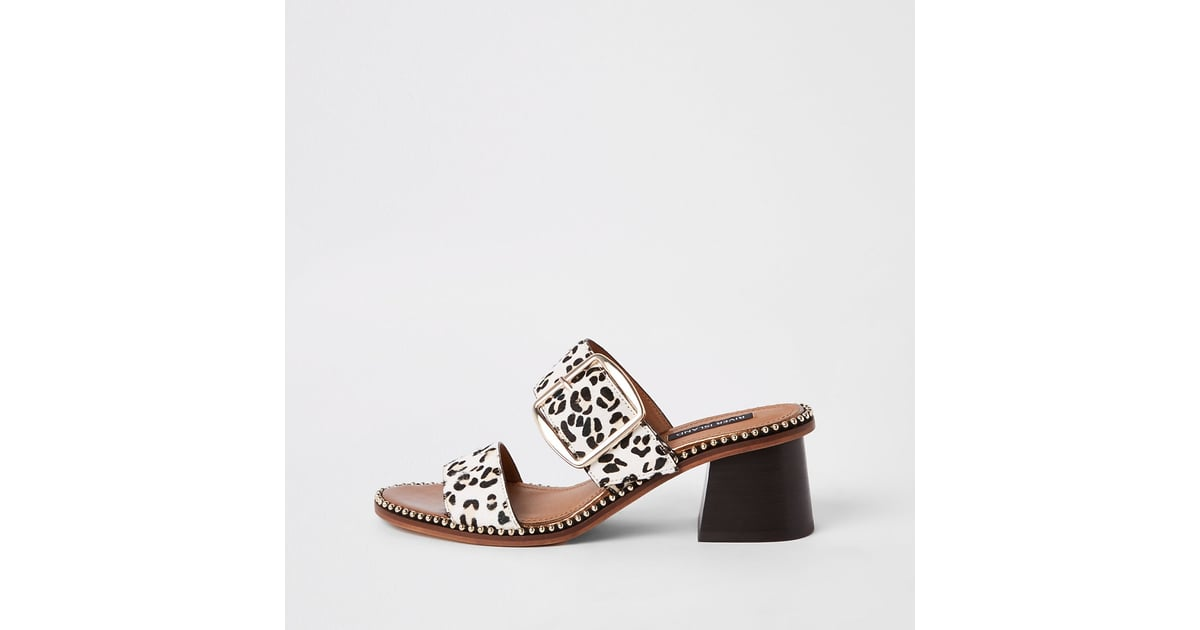 River Island White-Leather Leopard Wide