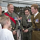 During his visit, Prince Harry talked to the Royal Marines and their families.