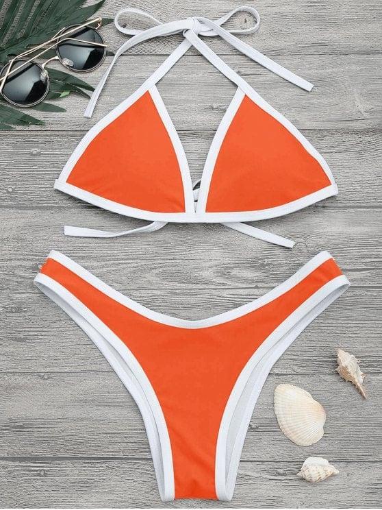 58ac0b01a5 Zafull High Cut Contrast Piping Bikini Set