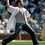 Jeremy Piven showed good form to pitch for the Chicago Cubs in April 2005.