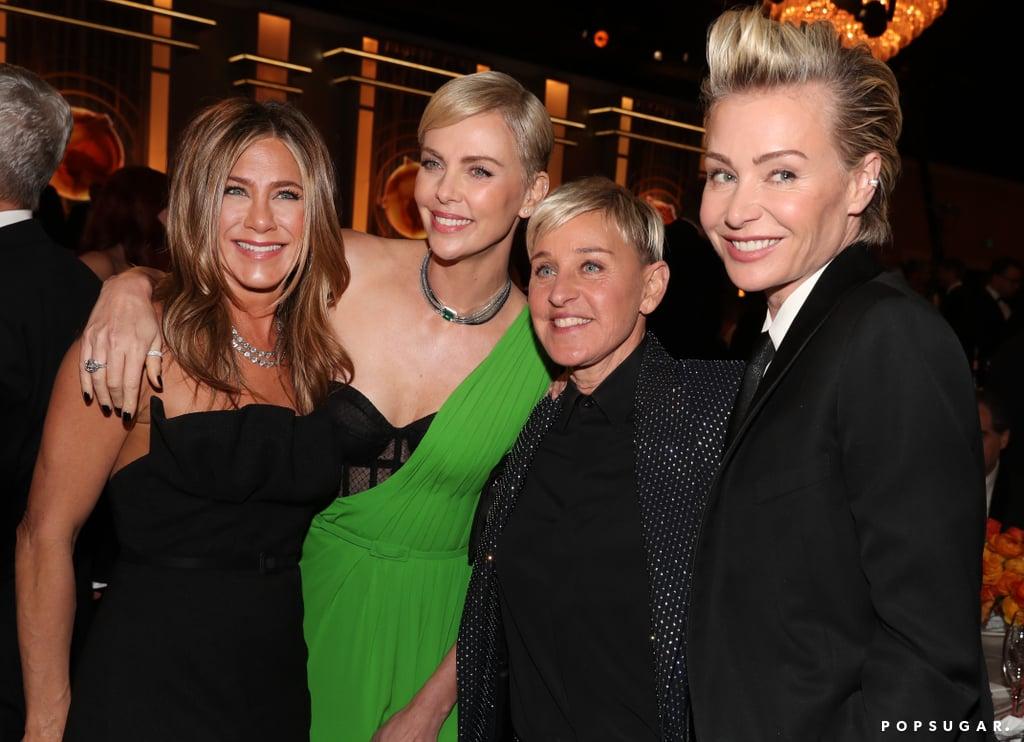Jennifer Aniston, Charlize Theron, Ellen DeGeneres, and Portia de Rossi at the 2020 Golden Globes