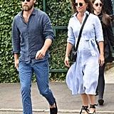 Pippa Middleton Blue Dress and Espadrilles at Wimbledon 2018