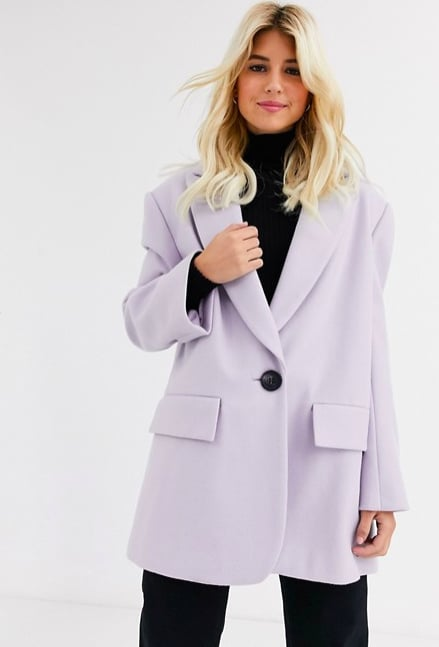ASOS DESIGN Grandad Coat in Lilac ($120)