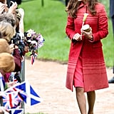 While Visiting Scotland, the Duchess Donned a Fun Red Striped Jonathan Saunders Coat